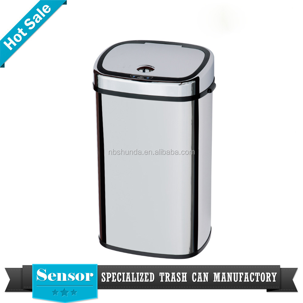 Factory direct eco-friendly touchless automatic sensor 30L garbage bins stainless steel trash can color silver waste bin