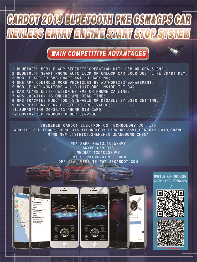 Cardot car alarm 2 way with gps gsm car alarm and tracking system auto keyless entry