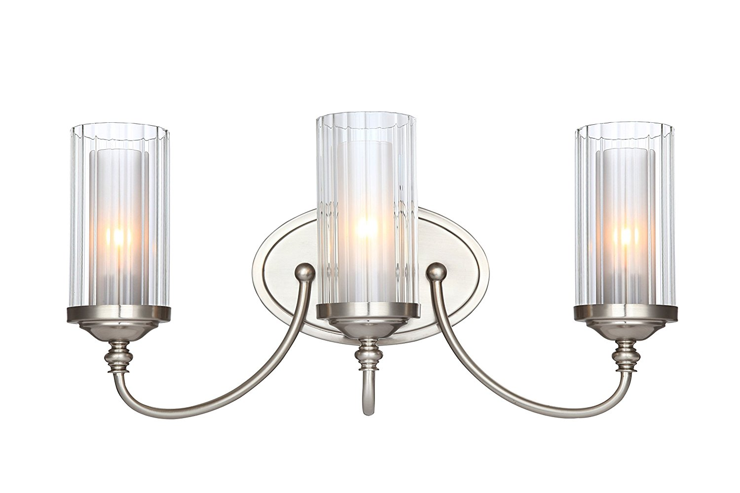 Hardware House LLC 20-9557 # Lexington Series 3-Light Wall and Bath Fixture Satin Nickel Comes with Clear Ribbed Glass and - Frosted Glass Globes