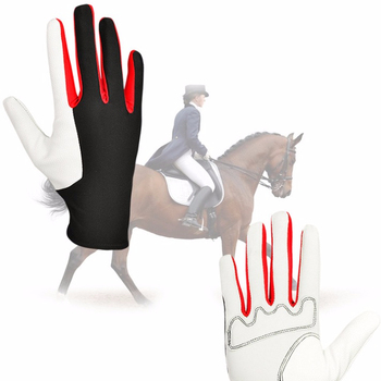 2017 Best Selling Cheap price high quality Lycra sheepskin leather horse riding gloves