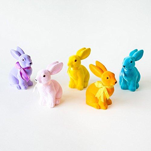 Set of 5, Vintage Flocked Easter Bunny Rabbits