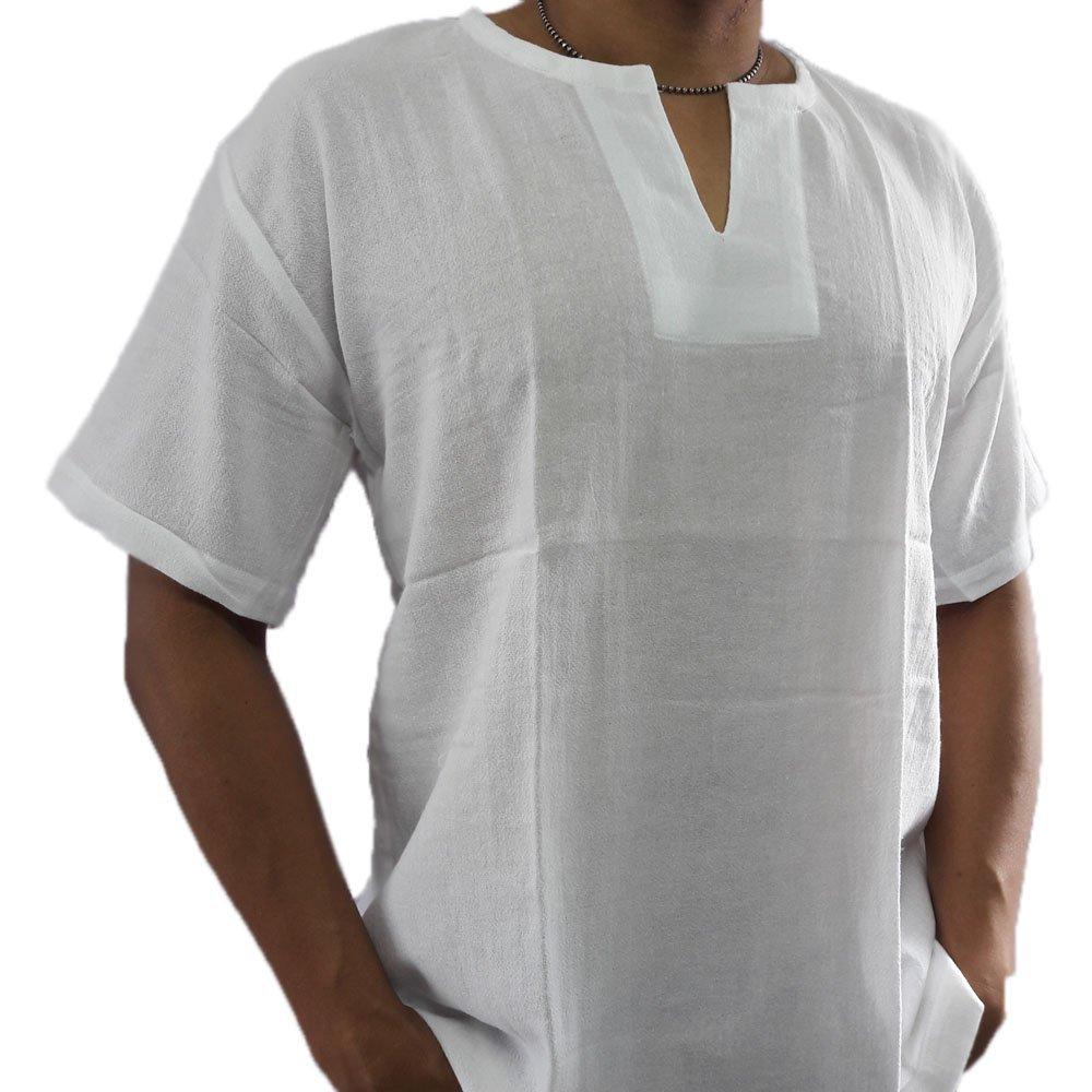 89bc4045 Get Quotations · Mens Shirt Men's Summer Shirt Thai Cotton Casual Hippie  Beach Yoga Top White Color PJ (