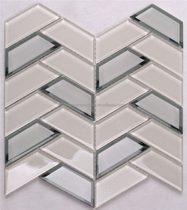 3D Beveled Mirror Glass Herringbone Mosaic Decorative Shower Subway Wall Tiles Bathroom Kitchen Backsplash Tile