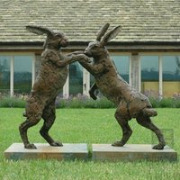 Yard animal statues large rabbit bronze sculpture for sale