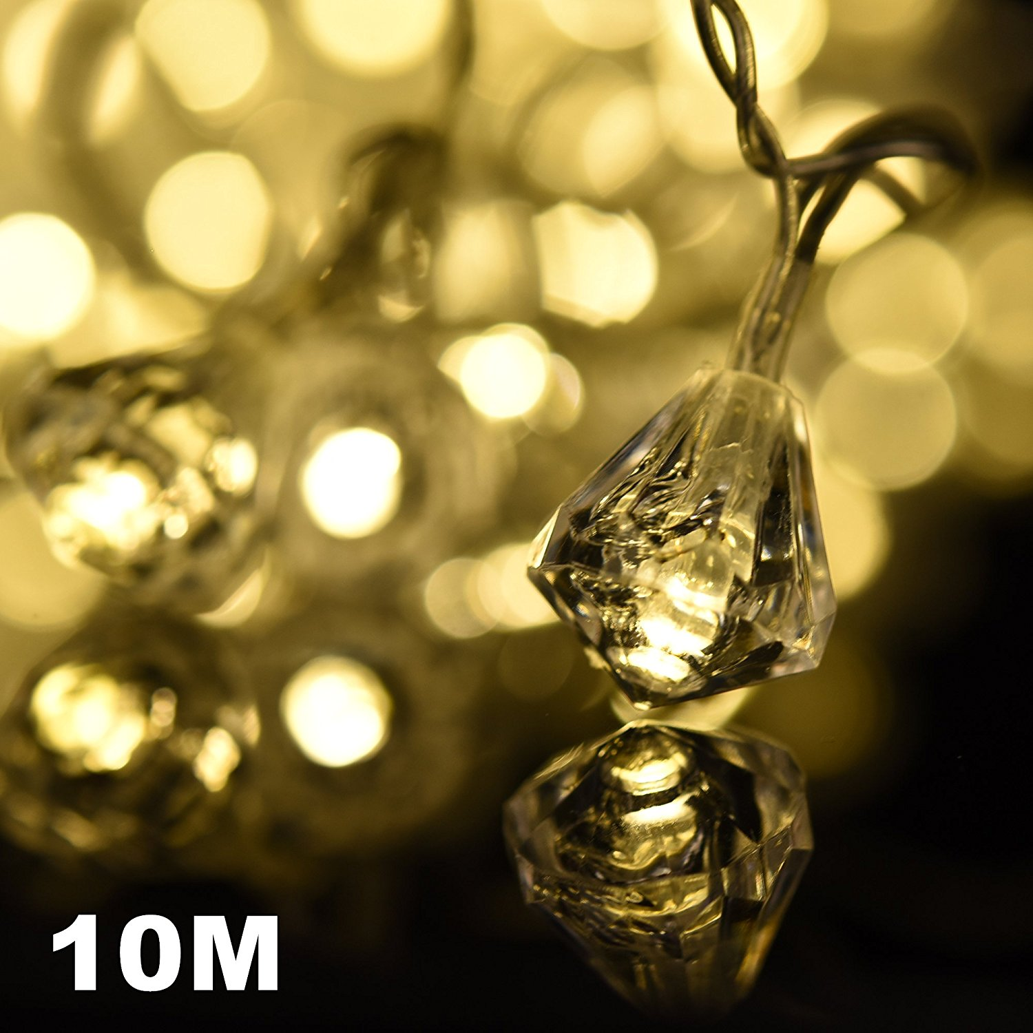 amazlab t10dw 10 meter33 feet warm white diamond micro led string lights 100 led bulbs indoor outdoor decorative lights dc powered