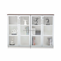 new arrival office furniture wooden glass double door filing cabinet