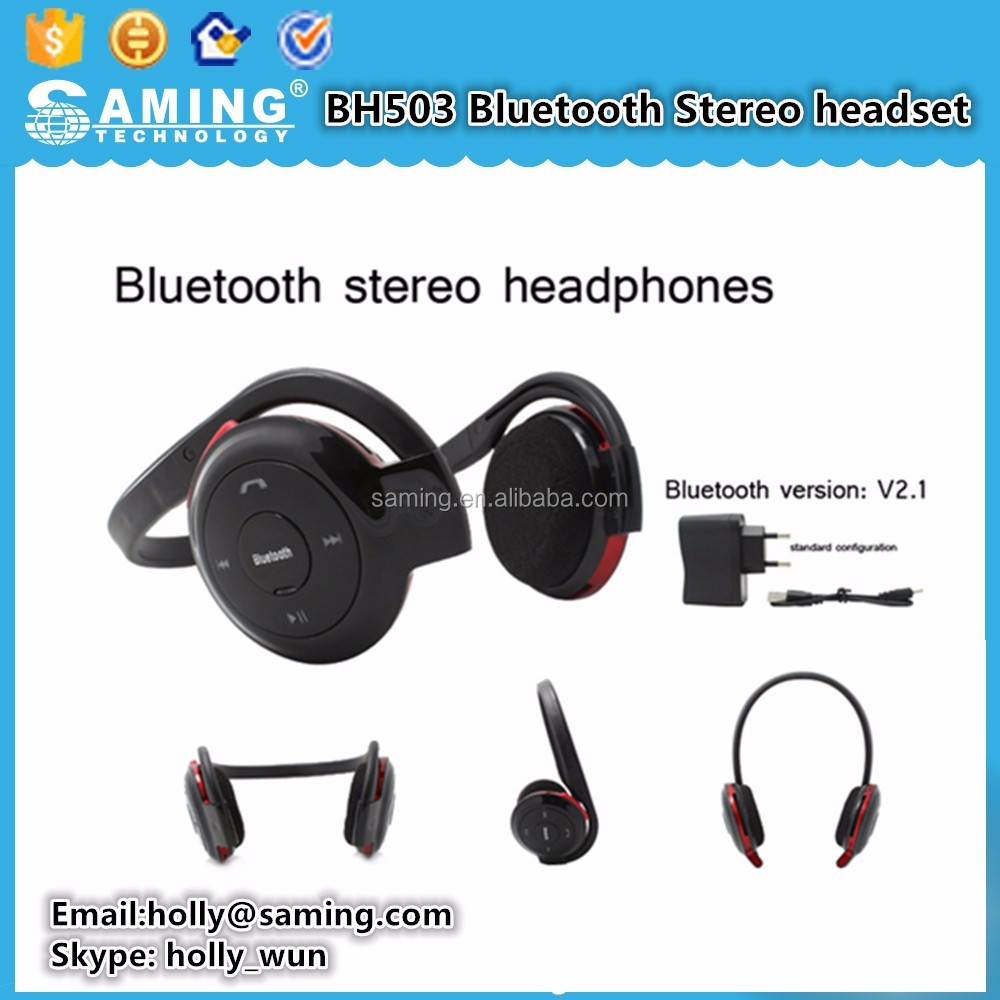 BH503 Bluetooth Stereo headset/Noise Cancelling OEM Wireless Stereo Bluetooth Headset BH 503 Music Universal