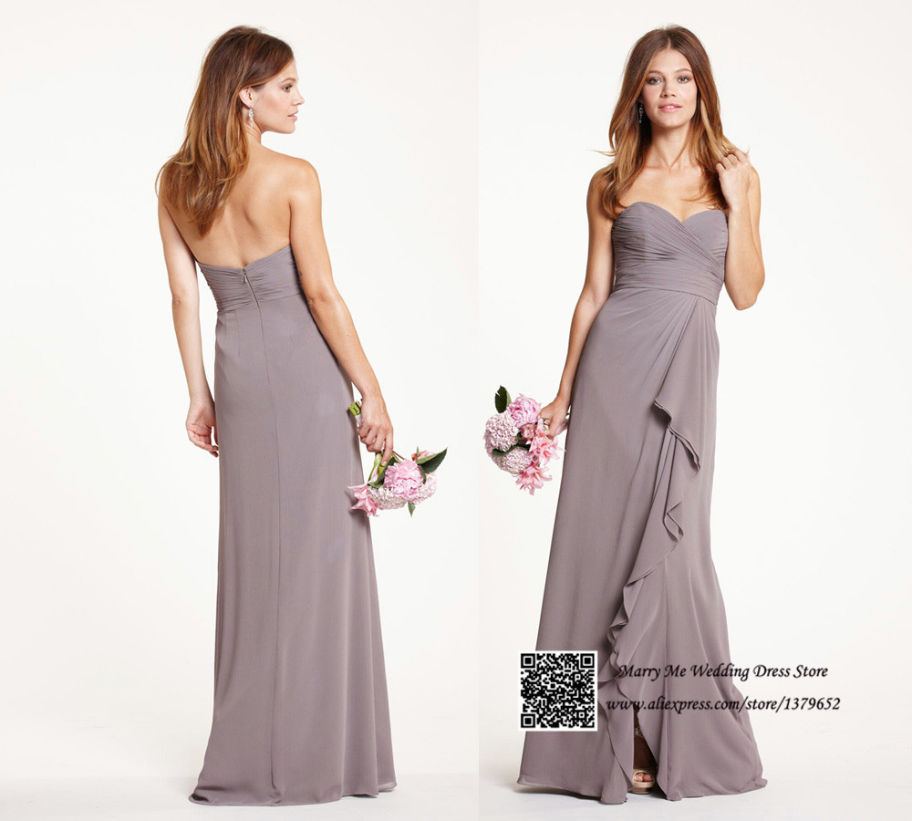 Modest Grey Sweetheart Long Bridesmaid Dresses 2015 Vestido De Festa De Casamento Pleated Tassel Chiffon
