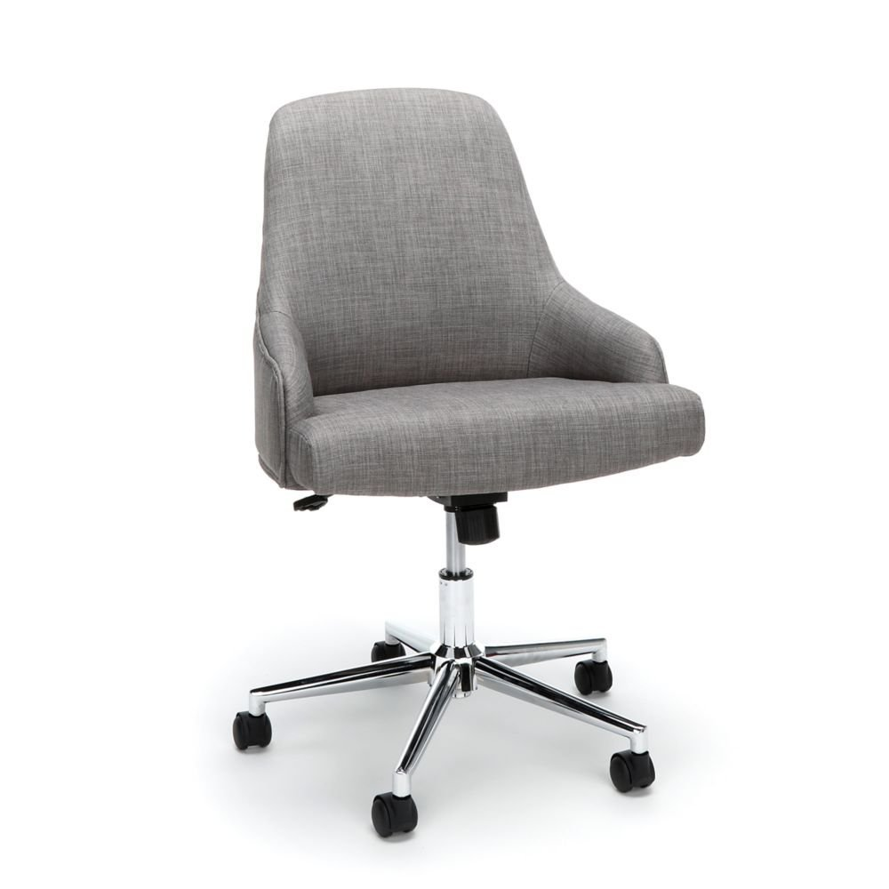 """Upholstered Task Chair Dimensions 24""""W x 26""""D x 34.75-37.50""""H Seat Dimensions 21.5""""Wx17.25""""Dx19-21.75""""H Back Dimensions 21""""Wx20.50""""H Weight 87 lbs - Gray Fabric/Chome Base"""