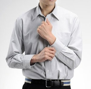 China readymade garments wholesale market custom mens striped shirt