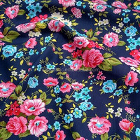 Vintage Dark Blue Big Pink Floral Printed Cotton Fabric Patchwork Sewing Fabric