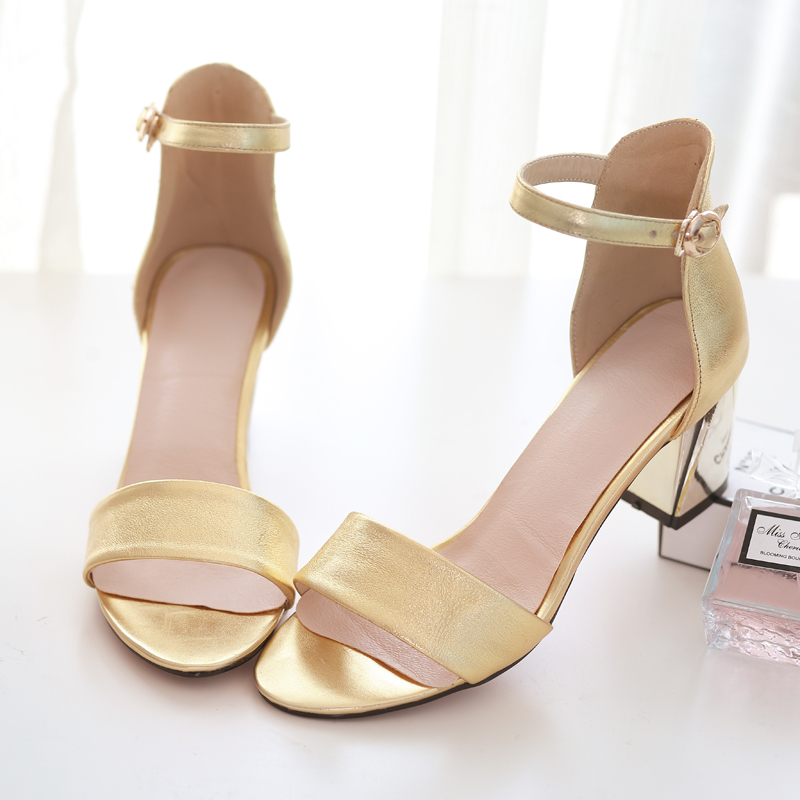 b4592a6297b6e Get Quotations · women genuine leather high heel gold sandals summer shoes  woman black sandal white sandalias femininas sapoatos