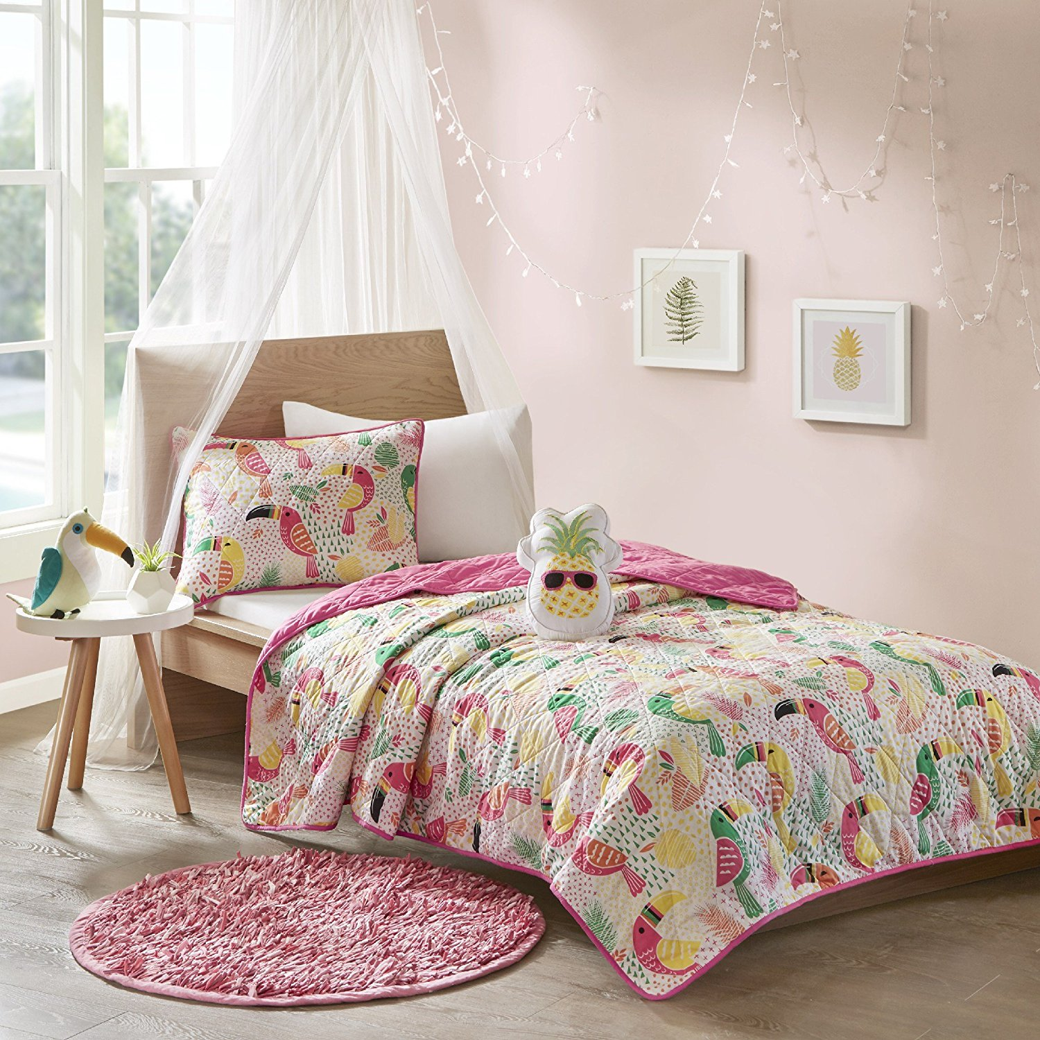 N2 4 Piece Girls White Yellow Green Pink Toucan Themed Coverlet Full Queen Set, All Over Tropical Birds Bedding, Fun Kids Multi Color Rain Forest Bird Geometric Botanical Leaf Pattern, Polyester