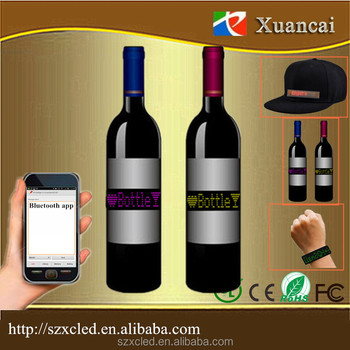 LED bag/hat/belt/Bottle flexible sign smart phone bluetooth app Button key Remote control editable LED bottle sign
