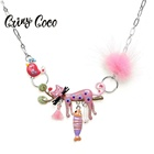 Cring Coco 2019 Cut Pink Cat Pendant Necklace Teenager Girls Pom Pom Silver Color Chokers Best Friends Gifts for Women Necklaces