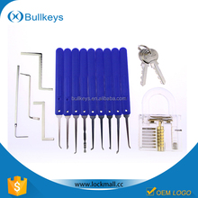 New Arrival professional used locksmith tools 9 pcs blue picks for locksmith + 1pcs clear practice lock TL0099