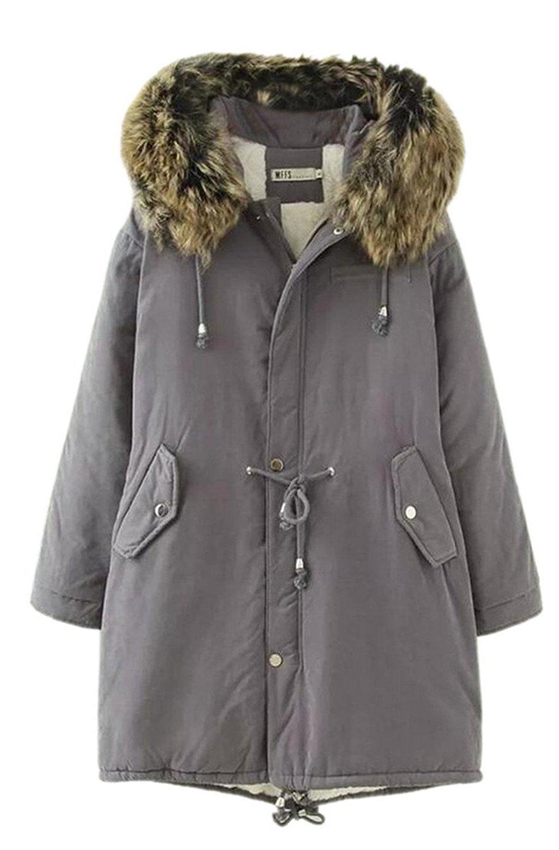 8bbae24386b Get Quotations · HTOOHTOOH Womens Plus Size Safari Warm Hooded Military  Parka Jacket Parka Coats Grey S
