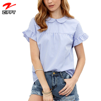Women's Cute Striped Peter Pan Collar T Shirt Short Sleeve Babydoll Blouse Top Woman Blouse
