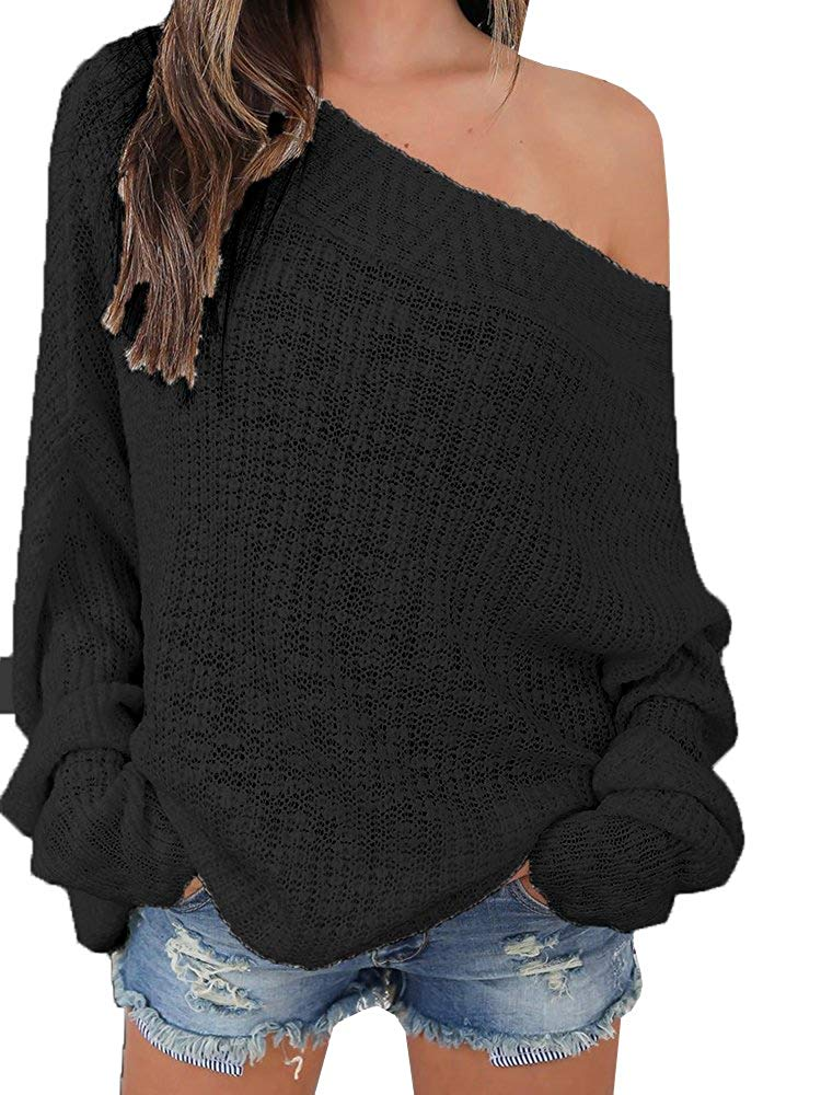 Beautife Womens Knit Sweaters Long Sleeve Off Shoulder Casual Oversized Slash Neck Pullovers