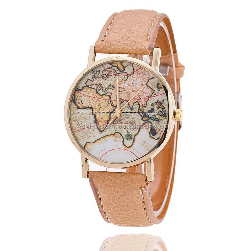 New women vintage earth world map watch leather wrist watches high new women vintage earth world map watch leather wrist watches high quality lady clock gumiabroncs Image collections