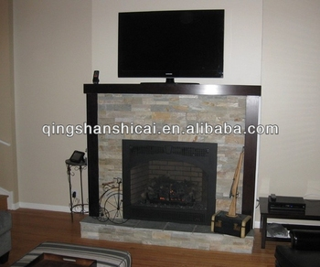 natual beige Stacked stone veneer Fireplace & Natual Beige Stacked Stone Veneer Fireplace - Buy Decorative Stone ...