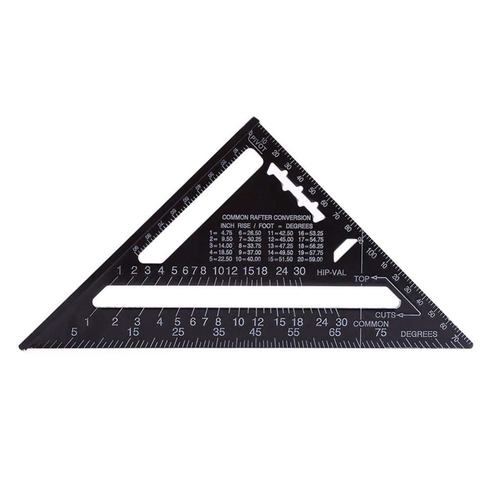 Baoblaze 17 Metric Ruler Square Aluminium Alloy Right Angle Measure Triangle