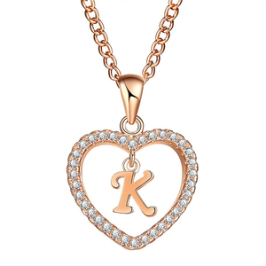 Fashion Gold 2 Colors Zircon Diamond 26 Letter Love Heart Pendant Necklace Wholesale NS800665
