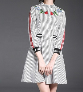 A4222 fashion summer new design spandex cotton waist A-line one-piece nine point sleeve embroidered striped dress