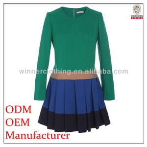 Hot selling high quality full sleeve color combined pleated skirt 100%wool communion dress