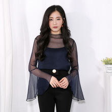 B20960A Korea women's see through clothing Long sleeved thin gauze blouse +tank tops two piece sets