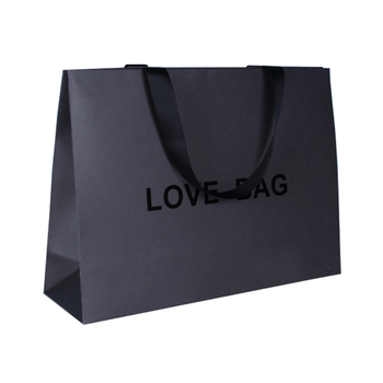Custom Logo Color Printed Black Luxury Paper Bag Gift Packaging Bags with Handle Paper Shopping Bag