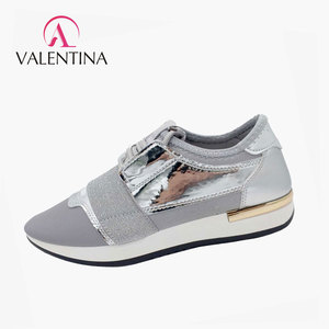 SHAWEINA colorful leather D08 silver casual sports women shoes wholesale