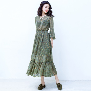 B20584a Latest Fashion Lafy Long Dress Korea Style Pretty Floral