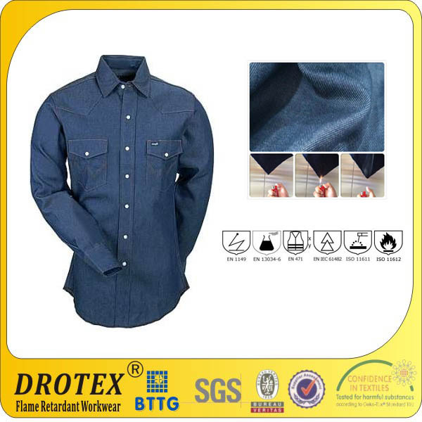 6~8oz fireproof Jeans shirt for workman protection
