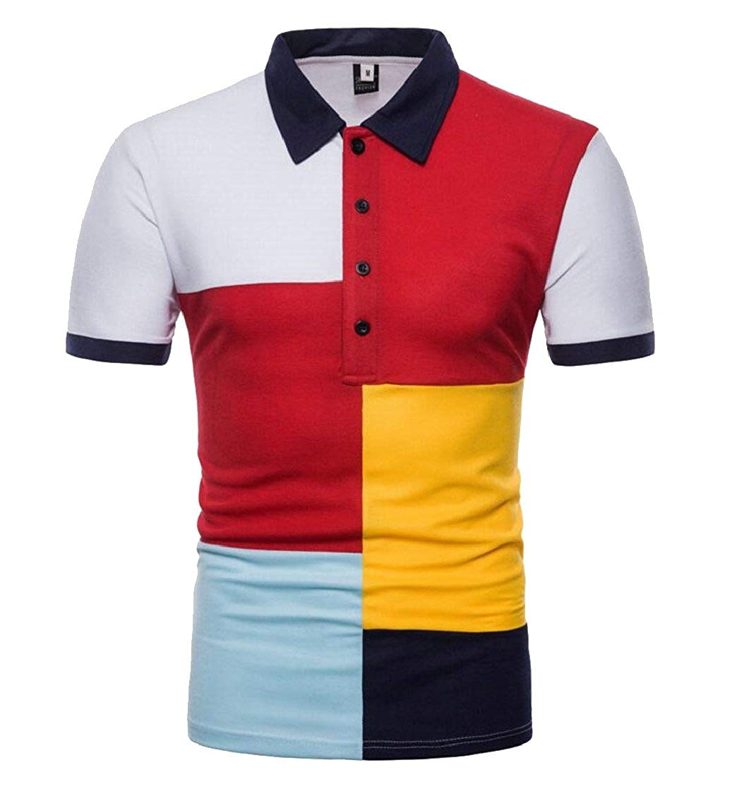 424c92bf17c Get Quotations · XQS Mens Color Block Polo Shirt Short Sleeve Button-Down  Slim Fit T-Shirt