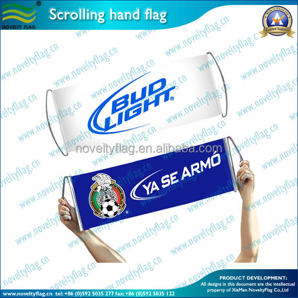 wholesale fans PE scrolling hand banner flag