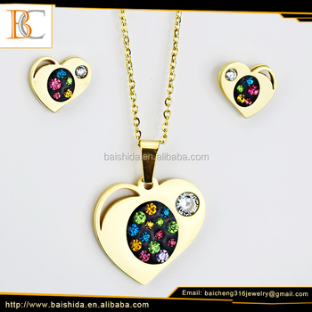 China wholesale gold pendant designs women heart necklaces jewelry sets for bridal