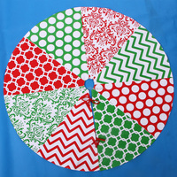 Modern Patchwork Quilted Christmas Tree Skirt