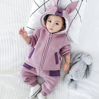 Children wear cute baby winter leisure suit plus velvet thick new cartoon hooded sweater two piece set