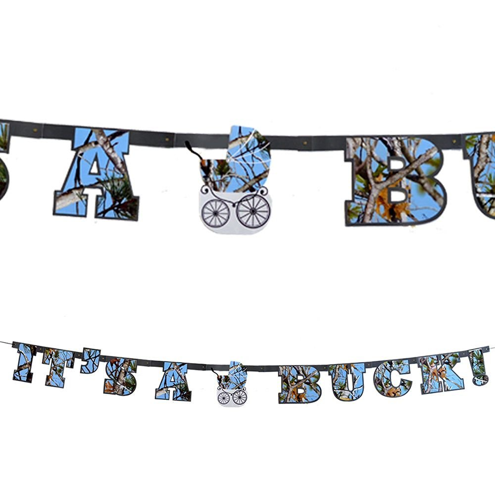 """Baby Boy Camo Banner """"It's a Buck"""" Reveal Banner (Next Vista Camo, Large 7"""" Letters, Blue Camo Baby Carriage) Light Blue Camo Party Collection by Havercamp"""