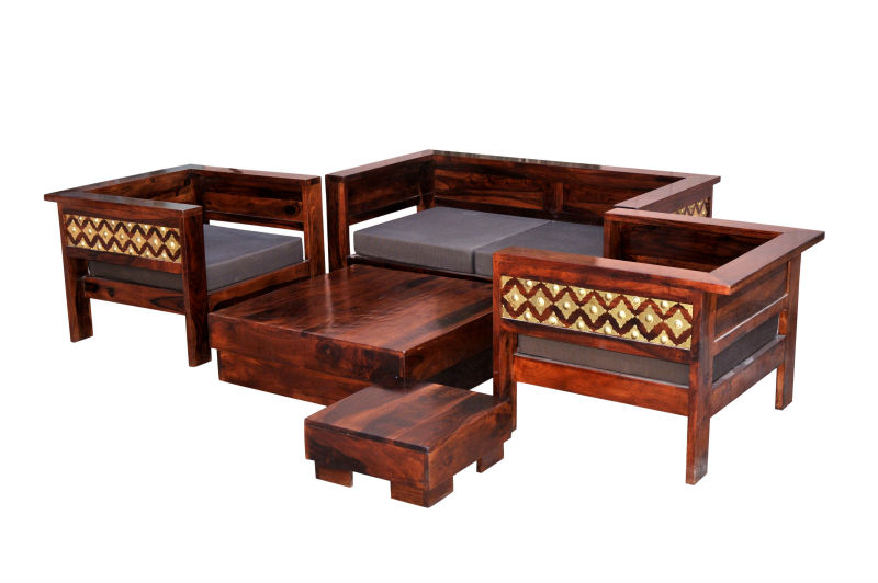 Induscraft Br Ed Solid Wood Sofa Set