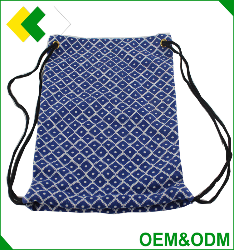 wholesale cotton fabric drawstring bag Blue Full-color printing cotton bag Eco friendly canvas drawstring bag