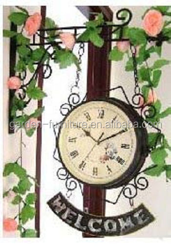 home decor metal art crafts, vintage double sided wrought iron wall hanging clock