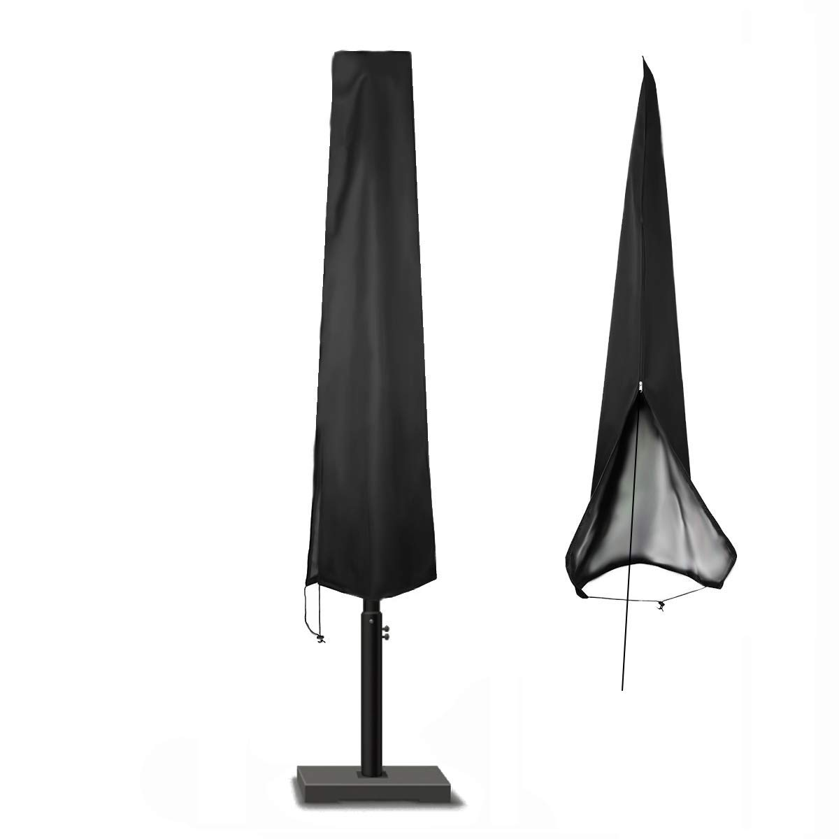 POMER Patio Outdoor Market Patio Umbrella Cover 7-11 Ft Outdoor Umbrellas, 420D Water Resistant Polyester Fabric, Black