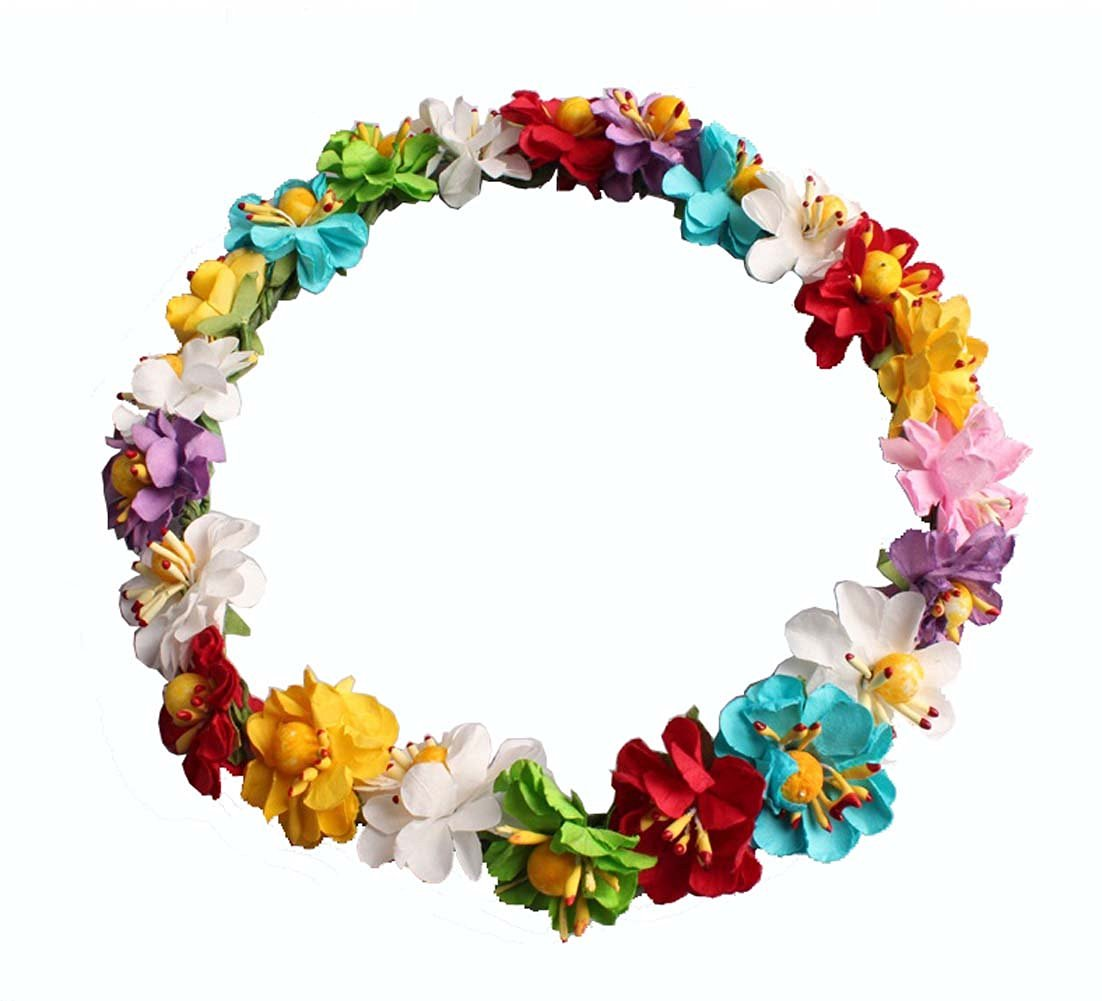 Buy Colorful Paper Flower Girl Halo Head Crown Circlet Wreath