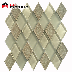 USA style selection glass mix cracked ceramic diamond mosaic