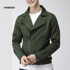 MGOO Men Polyester Spread Collar Zipper Casual Solid Tailored Jacket
