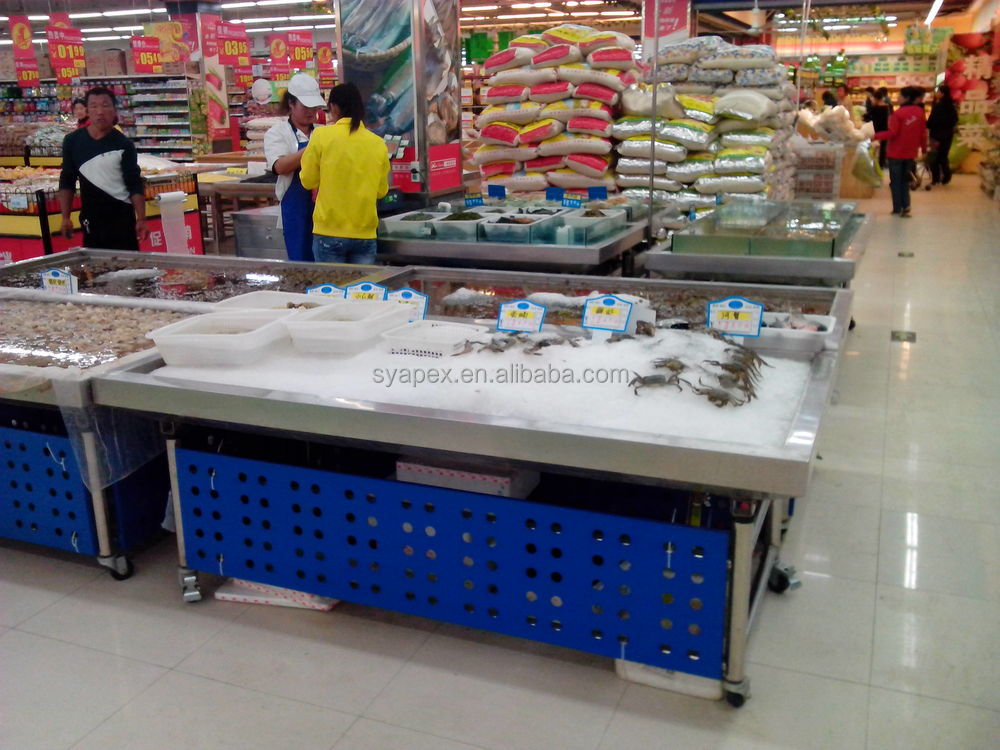 APEX Factory Custom Make Stainless Steel Ice Fresh Refrigerated Table Top  Seafood Fish Display Counter Refrigerator