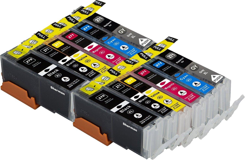 Sherman Inks 12 Pack Compatible Canon PGI-270XL CLI-271XL W/Gray Ink Cartridge Replacement High Yield 2 Black, 2 Cyan, 2 Magenta, 2 Yellow,2 Big BK,2 Grey For Printer Pixma MG7720 Cli271 Pgi270 XL