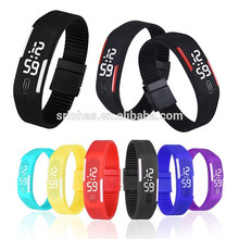 Top Quality digital Silicone Rubber Led Wristband Watch for men's sports